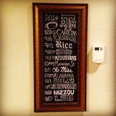 Chalkboard Texas A&M football schedule