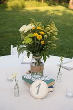 Another beautiful table center by Love Nora Adornments at Greenwell State Park. www.greenwellfoundation.org. Photo by Jill Christine Design and Photography, www.JillChristineDesigns.com