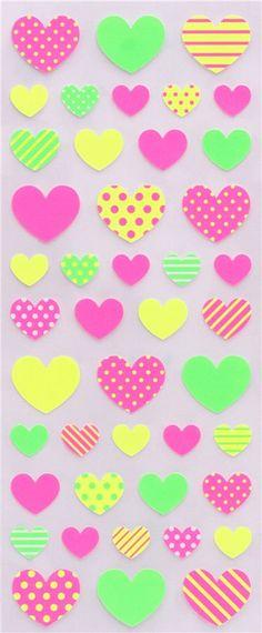 kawaii neon heart stickers by Mind Wave 2