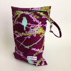Purple Teal Sparrows Wet Bag LE | Maxwell Designs #wetbag #gymbag