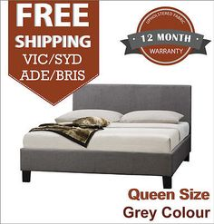 Fabric Bed Frame Queen size Modern Comfortable bed in Grey Color Best Price
