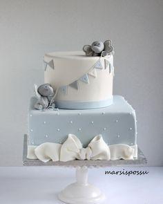 Baptism Cake For Boy - Cake - baby kuchen Elephant Baby Shower Cake, Elephant Cakes, Baby Shower Cakes For Boys, Baby Boy Cakes, Baby Boy Shower, Baby Boy Birthday, First Birthday Cakes, Christening Cake Boy, Baby Baptism