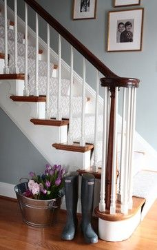 stair case with 2-tone wood railin and banister, and the stair runner. beautiful! warwick way, pittsburgh designer, Alisha Gwen Interior Design
