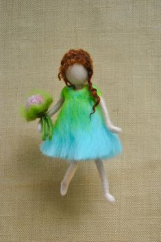 Items similar to Wall Hanging Ornament Needle Felted doll : Girl with pink flowers on Etsy Wool Dolls, Felt Dolls, Needle Felted, Nuno Felting, Felt Angel, Needle Felting Tutorials, Felt Fairy, Waldorf Dolls, Fairy Dolls