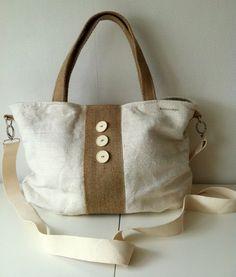 antique linen shoulder bag hobo bag crossover bag by boonestaakjes, $85,00