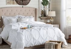 The Twillery Co. Erion Comforter Set & Reviews   Wayfair Wooden Chandelier, Chandelier Bedroom, Table Lamp Sets, Table Desk, Eclectic Chandeliers, Farmhouse Chic, Dining Furniture, Cool Lighting, Comforter Sets