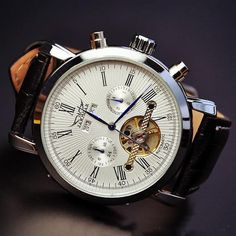 Stan vintage watches — Men's Leather Fashion Magnificent Watch, Handmade Vintage Automatic Mechanical Watches (WAT0240)