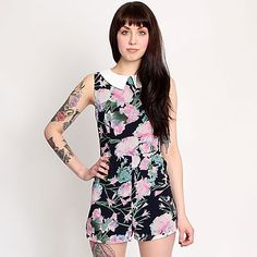 Hearts and Bows Black Flower Una Floral Playsuit - A unique streetstyle store stocking own labels Hearts & Bows + CLOAK plus Fred Perry, Carhartt, ASA, Motel and Short Playsuit, Floral Playsuit, Ark Clothing, Stationery Items, Fred Perry, Floral Dresses, Cloak, Carhartt, Motel
