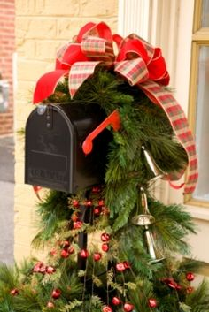 stock photo mailbox decorated for christmas