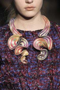Elise Winter neckpiece on Cynthia Rowley Fall 2010 garment- Details