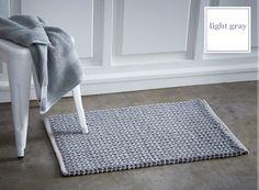 Bawełniany francuski dywanik do łazienki w kolorze jasnoszarym