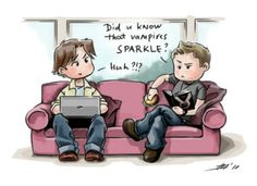"SPN-oh my gosh hahaha, however I think Dean would be more likely to say ""What is this crap? Vampires don't friggen' sparkle. What is this? Fairyland?"""