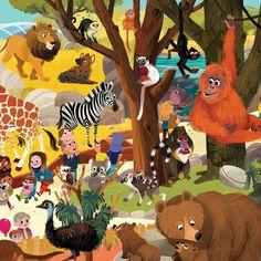 Day at the Zoo Puzzle Zoo Map, Cartoon Hippo, Cute Animal Illustration, Animal Books, Animal Paintings, Cute Art, Illustrators, Art For Kids, Fantasy Art