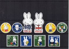 New Cute Miffy Japanese stamp set, Dick Bruna 2016 used Japan postage. Asian, decoupage, scrapbooking, craft or art supply. Scan enlarged.