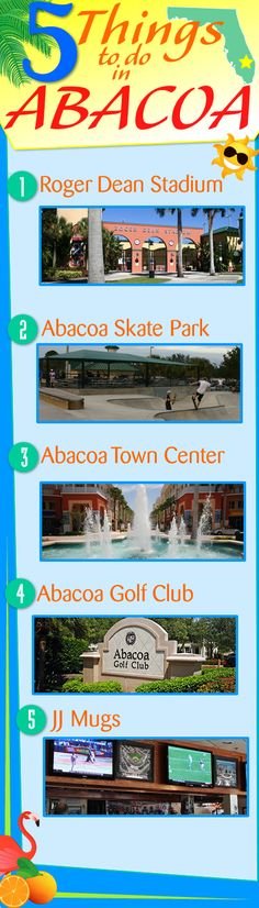 5 Things To Do In Abacoa Florida! Abacoa is an outstanding Jupiter Florida community with great things to do. 1.) Roger Dean Stadium 2.) Abacoa Town Center 3.) JJ Mugs 4.) Abacoa Golf Club 5.) Abacoa Skate Park #abacoa #abacoajupiterfl #jupiterflorida #thingstodo #southfloridafun