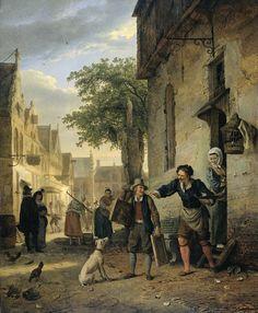 Jan Steen Sends his Son to the Streets to Exchange Paintings for Beer and Wine | Ignatius Josephus Van Regemorter | 1828 | Rijksmuseum | Public Domain Marked