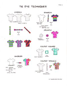 tie dye shirt patterns instructions