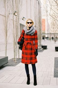 Recreate her look (kind of):    Wrap up warm in a cosy plaid coat for Autumn/Winter: D Plaid wool trench coat, April May Winni checked wool coat, Vivienne Westwood Anglomania classic Gainsborough plaid coat, Burberry Prorsum plaid wool coat, or Urban Renewal vintage 80's wool plaid coat