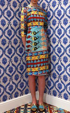 Blue Carpet Fitted Padded Dress by Tata Naka for Preorder on Moda Operandi