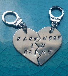 "Cheesy Cute Girlfriend Gifts:  ""Partners in Crime"" Couples / Best Friends Keychains (set of 2) by Stuff  By Stace @ Etsy"