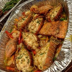 Cajun Seafood Bowl Recipe Salmon, Lobster, Shrimp paired with some savory seasonings - A seafood lovers delight in a bowl! Seafood Boil Recipes, Cajun Seafood Boil, Seafood Broil, Seafood Boil Party, Lobster Boil, Seafood Bake, Crab Boil, Cajun Food, Shrimp Recipes