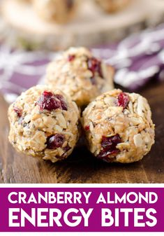 Cranberry Almond Energy Bites Cranberry Almond Energy Bites are a protein packed recipe that you can store in your freezer for a healthy and convenient snack or breakfast. These balls are filled with wholesome foods like chia seeds, ground fla Healthy Low Carb Snacks, Easy Snacks, Healthy Fats, Healthy Protein Balls, Protein Recipes, Protein Puck Recipe, Protein Foods, Health Sweet Snacks, Peanut Butter Protein Bites Recipe
