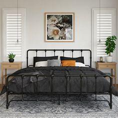Modern Farmhouse Bedroom, Modern Bedroom, Farmhouse Bed Frames, King Farmhouse Bed, Simple Bedroom Decor, Bedroom Décor, Bedroom Ideas, Bedrooms, Black Metal Bed Frame