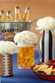 Super Bowl Party from koozies to cake. I love this blog post!