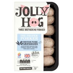 Jolly Hog Pork Sausages : Gluten Free ~ For more treasures like this - 'Like us' on http://fb.me/Biskgetz to help our community grow! Biskgetz.com #Biskgetz @Biskgetz #IntoGlutenFree - celiac disease, coeliac disease, gluten free diet, wheat free diet, gluten intolerance, gluten sensitivity, gluten allergy.