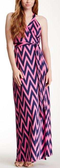 Pink & Blue Chevron Print Maxi Dress