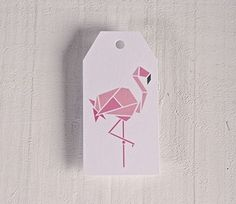 Gift labels with a geometric flamingo print. Set of 10 labels.