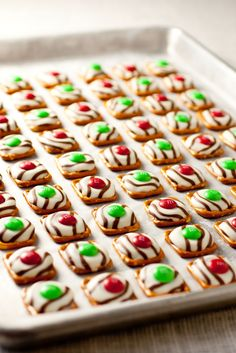 Waffle shaped pretzels + Hershey hugs + m&m's make this perfect holiday treat!