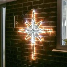 Perfect for either commercial or large domestic displays, this outdoor rope light Christmas North Star motif is suitable for use indoors or outdoors. Outdoor Rope Lights, Christmas Lights, Christmas Star, Star Of Bethlehem, Church Of England, Fairy Lights, Twinkle Twinkle, Wall Lights, Display