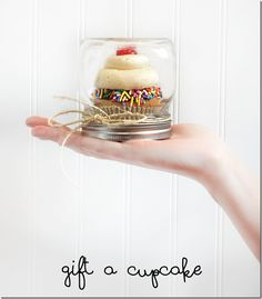Upside Down Mason Jar Cupcake Holder for Gifts.... Over 20 of the BEST Cupcake Ideas for Parties & Bake Sales from KitchenFunWithMy3Sons.com