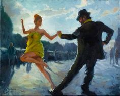 Tango-in-the-Piazza—original dance tango oil painting by Christopher Clark, fine art, #christopherclarkart
