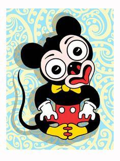 Mickey Mouse in the form of a Maori Tiki Maori Designs, Tiki Art, New Zealand Art, Nz Art, Maori Art, Kiwiana, Lowbrow Art, Fine Art Paper, Art Lessons