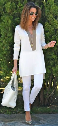 Super How To Wear White Shirt Classy Summer Outfits 28 Ideas All White Outfit, White Outfits, Summer Outfits, Casual Chic, Casual Wear, Casual Outfits, Skirt Outfits, Look Fashion, Fashion Outfits