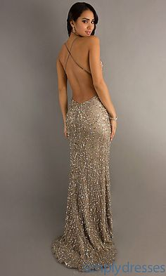 Wonder if I can make this? Backless Sequin Gown by Scala | www.simplydresses.com