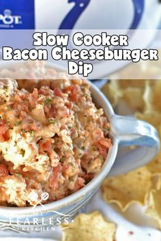 Slow Cooker Bacon Cheeseburger Dip from My Fearless Kitchen. Are you looking for a hearty dip for your next party or tailgate that everyone will love? This Slow Cooker Bacon Cheeseburger Dip hits the spot, every time! #bacon #slowcooker #tailgate