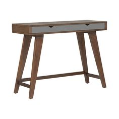 Tall, angled legs add a modern edge to this mid-century inspired design. Two gray drawers keep essentials neatly stored, while the smooth dark wood and elegant design do the talking. Perfect for the ha...  Find the Art Studio Console Table, as seen in the Moody Interiors Collection at http://dotandbo.com/collections/2015-trends-moody-interiors?utm_source=pinterest&utm_medium=organic&db_sku=96681