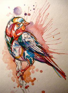 colourful, geometric bird.