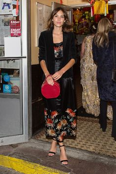 Alexa Chung in a silk pajama dress at the Vogue.com dim sum pajama party
