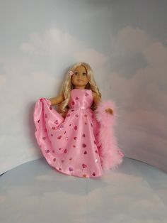 18 inch doll clothes - #202 Pink Heart Gown handmade to fit the American girl doll by susiestitchit on Etsy