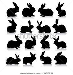 collection of different rabbit silhouettes by Janos Levente, via Shutterstock