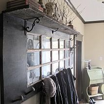 ~ Awesome Idea!!! Could DIY Old Door Made Into Coat Hanger/Decor ~ it would be so cool with frosted or stained glass too!