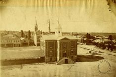Historic photo of Brantford, Ontario. Note: the spire in the background (on left) looks to be the Congregational Church on George St., designed by William Mellish and built in Canadian Things, Historical Pictures, Livingston, Building Design, Ontario, Taj Mahal, History, Architecture, City