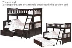 Ginger Twin Full Kids Wood Bunk Bed Espresso