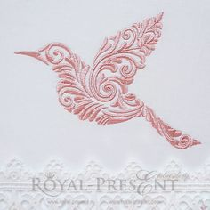 Machine Embroidery Design Flying bird with floral ornament decoration - 4 sizes