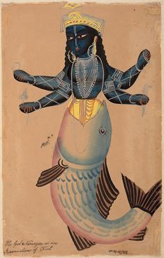 An image of The god Narrayon, as an incarnation of a fish by Kalighat school. Other titles: Matsya, the fish avatar of Vishnu.Vishnu in one of his ten incarnations or avatars was a particular favourite.