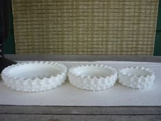 Vintage Milk Glass Stacking Trinket Trays Set of 3 by bellaroni, $26.00